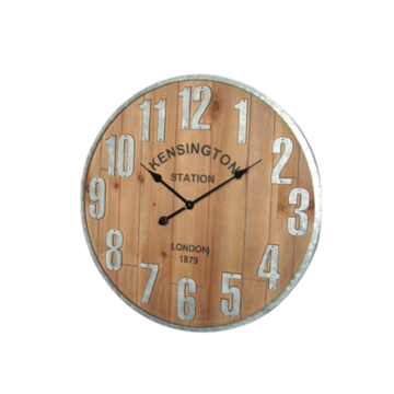 Picture of Kensington Wood Silver Clock